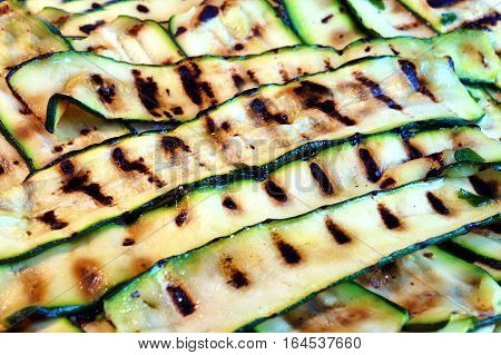 Grilled zucchini salad. Delicious healthy courgettes . vegetarian food