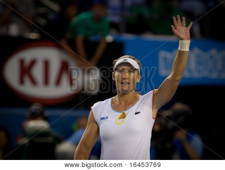 MELBOURNE - JANUARY 20: Samantha Stosur of Australia celebrates her second round win over Vera Dushevina  of Russia in the 2011 Australian Open - January 20, 2011 in Melbourne