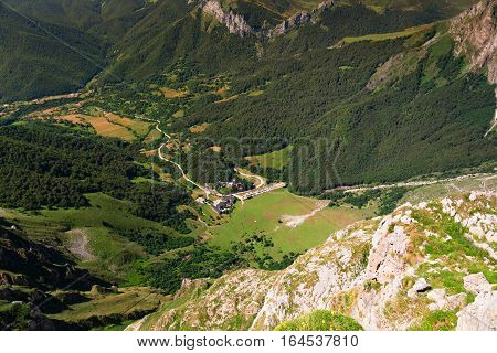 Village at Fuente De valley Picos de Europa National Park Cantabria Spain. The top view from a cabin of the ropeway of the funicular