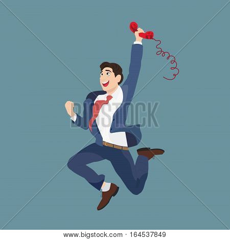 Joyful businessman with a handset. Vector illustration of a happy businessman talking on the phone jumps.