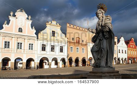 TELC CZECH REPUBLIC 28TH AUGUST 2015 - view of statue of st. Margaret on Telc or Teltsch town square Czech republic. World heritage site by unesco