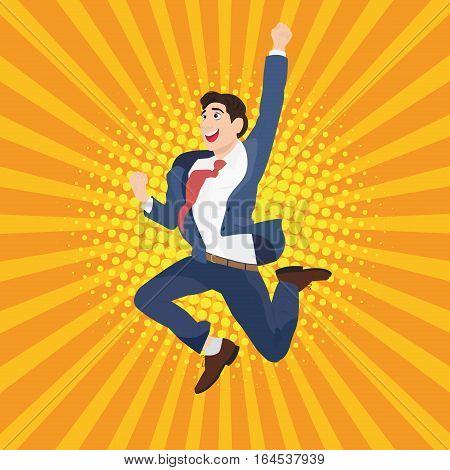 Joyful businessman on retro background. Business success start.