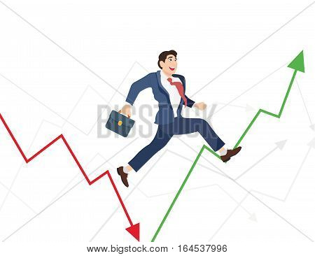 Business man run in world ups and downs. Illustration of a manager jumping over arrow symbol.