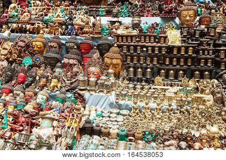 KATHMANDU NEPAL 16th APRIL 2016 - Typical bronze nepalese souvenirs which are selling in kathmandu city capital of Nepal