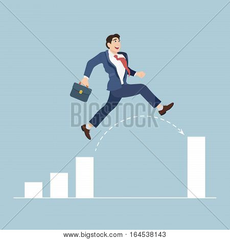 Businessman jump through the gap in growth chart. Business concept vector