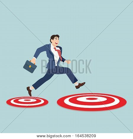Businessman with suitcase jumping from small to big target. Business concept vector