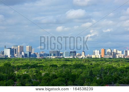 Aerial view at Winnipeg city Manitoba Canada