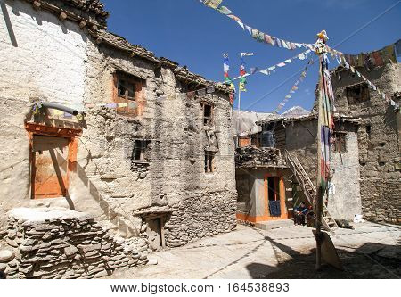 KAGBENI NEPAL 3rd APRIL 2016 - Beautiful village in lower Mustang area Annapurna circuit trek Nepal
