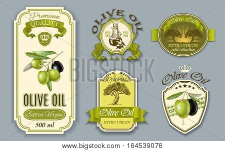 Vector vintage style oilve oil labels with decorative plant branches and symbols. Elegant green and beige design for olive oil packaging. Font names included in the layers