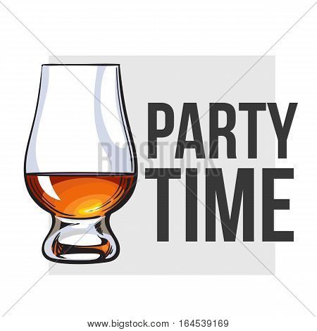 Scotch whiskey, rum, brandy nosing glass, sketch style vector for poster, banner, invitation design. Realistic hand drawing of a nosing glass for whiskey, scotch, brandy, party time concept