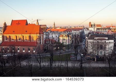 Old town cityscape panorama in sunset, Wroclaw, Poland