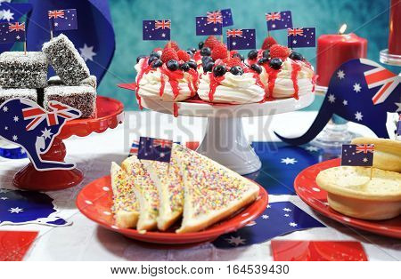 Australian Theme Party Table With Flags And Iconic Food