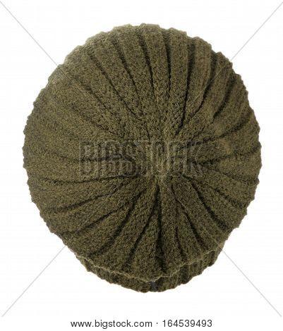 Hat Isolated On White Background .knitted Hat .green Hat.