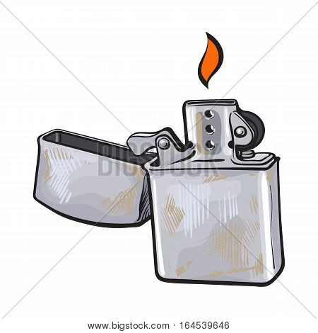 Silver metal windproof lighter with flame, sketch vector illustration isolated on white background. Realistic hand-drawing of silver colored metal lighter burning, smoker attribute