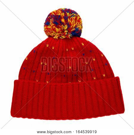 Knitted Hat Isolated On White Background .hat With Pompon . Hat Red .