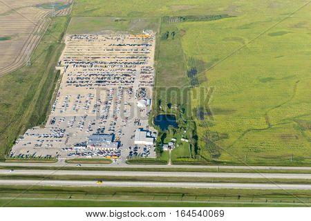 Aerial view at Edmonton city suburb. Edmonton city Alberta province Canada