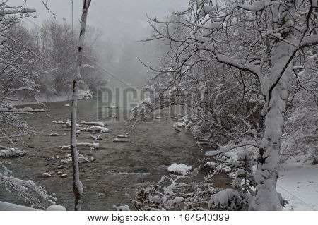 The view of cold river between trees covered with snow. Bavaria. Germany.