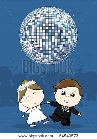 cute bride and groom first dance wedding with big disco ball ideal for funny party invitation