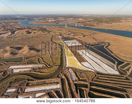 Aerial. Aerial photography of the river Guadiana and the bridge. Portugal, Spain