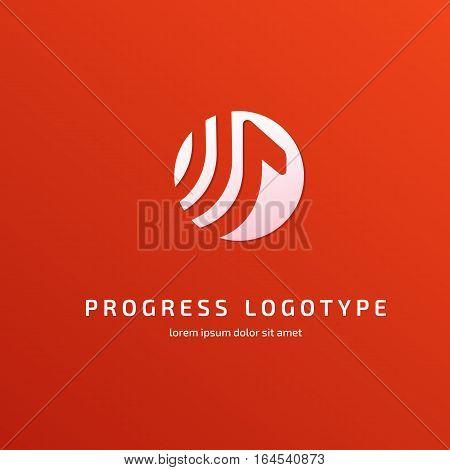 Illustration design of business logotype progress arrow flat simple sign