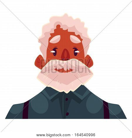 Grey haired old african man face, neutral facial expression, cartoon vector illustrations isolated. Old black man, grandfather emoji feeling glad, serene, relaxed, delighted. Neutral face