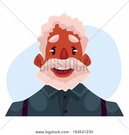Grey haired old african man face wow facial expression, cartoon vector illustrations isolated on blue background. Old black man, grandfather emoji surprised, amazed, astonished. Surprised, wow face expression