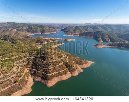 Aerial. Aero panorama dam in Monchique Odelouca. Alentejo