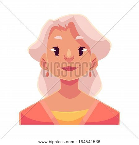 Grey haired old lady, neutral facial expression, cartoon vector illustrations isolated on white background. Old woman feeling glad, serene, relaxed, delighted. Neutral face expression