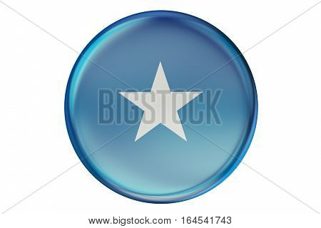 Badge with flag of Somali 3D rendering isolated on white background