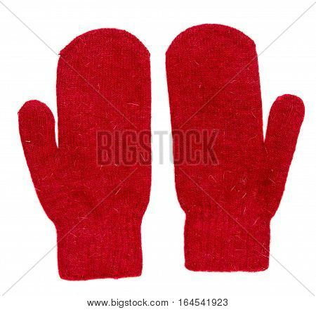 Mittens Isolated On White Background. Knitted Mittens. Mittens Top View.red Mittens .