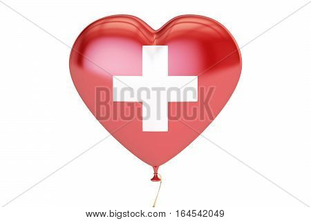 Balloons with flag of Switzerland holiday concept. 3D rendering