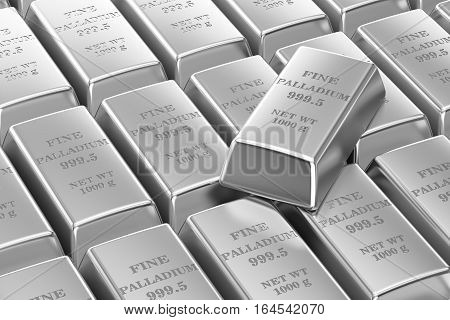 set of palladium bars background 3D rendering