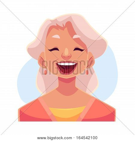 Grey haired old lady, laughing facial expression, cartoon vector illustrations isolated on blue background. Old woman laughing out load with closed eyes and open mouth. Laughing face expression