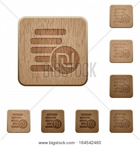 Israeli new Shekel coins on rounded square carved wooden button styles
