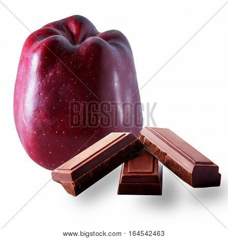 apple and chocolate noir on the white background