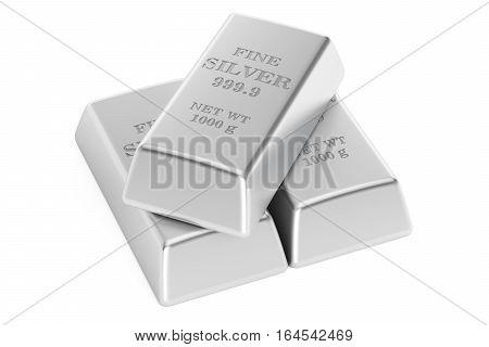 Set of silver bars 3D rendering isolated on white background