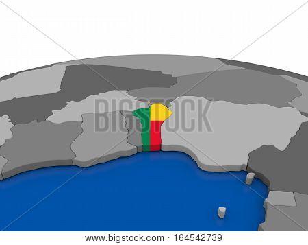 Benin On 3D Globe