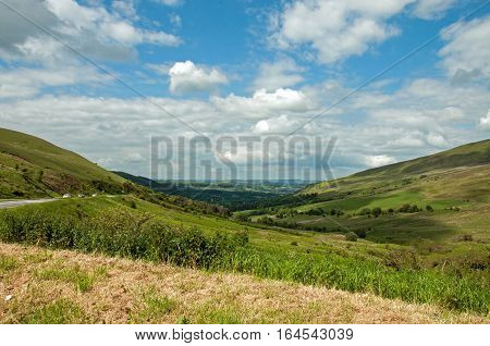Brecon beacons mountains and valley in the summertime.