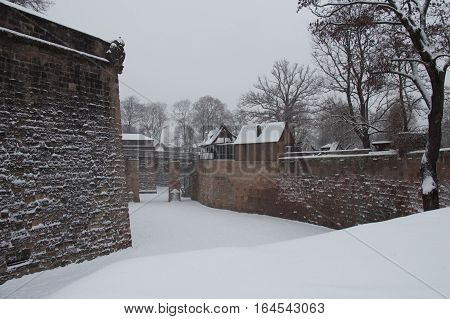 Nuremberg Germany - December 30 2014: view of the walls of Nuremberg Castle in winter time on December 30 2014 in Nuremberg Germany.
