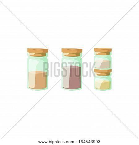 Jar with cooking ingredients, pepper, garlic, paprika, curry vector illustration. Aromatic culinary powder colorful aroma spices glass container.