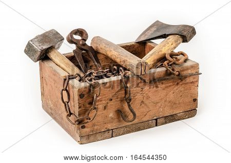 Old wooden toolbox with tools on white background