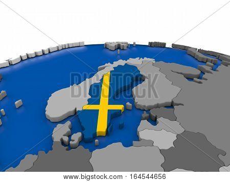 Sweden On 3D Globe