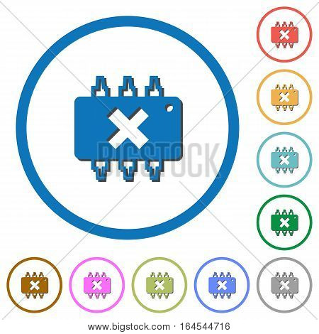 Hardware failure flat color vector icons with shadows in round outlines on white background