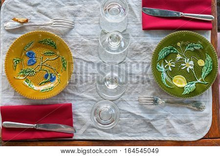 picture of a laid table with Mediterranean dishes