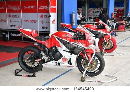 BURIRAM - DECEMBER 4 : Honda Motorcycle of Astra Honda Racing Team in Asia Road Racing Championship 2016 at Chang International Racing Circuit on December 4 2016 Buriram Thailand.