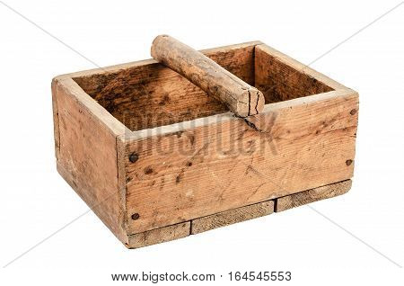 Old wooden box isolated on white background