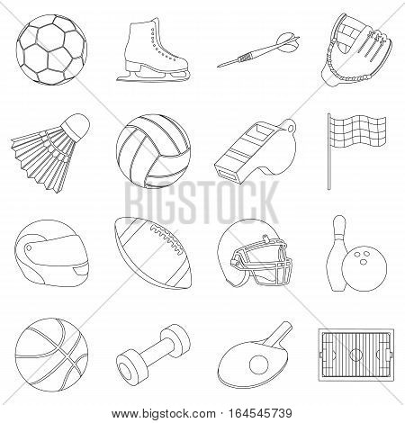 Sport and fitness set icons in outline style. Big collection sport and fitness vector symbol stock