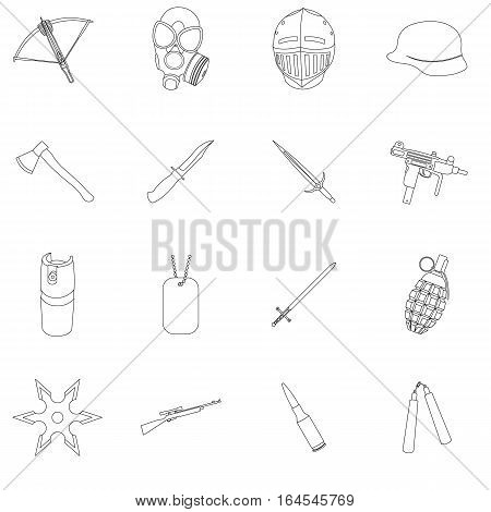 Weapon set icons in outline style. Big collection weapon vector symbol stock