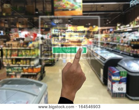 internet of things marketing concepts smart augmented reality customer us ar application to login to the system for buy search a product special price for security reason