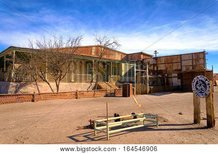 Saltpeter museum in the abandoned town of Humberstone Chile